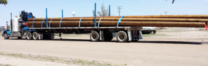 Adams Industries Trailer hauling wood logs